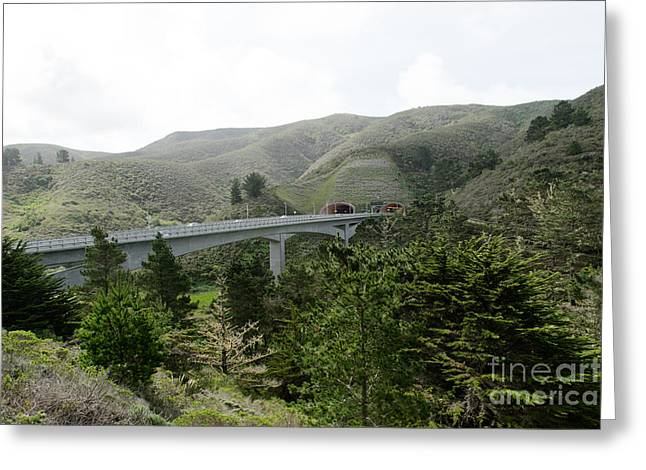Mountain Road Greeting Cards - Devils Slide Tunnels Pacifica California DSC750 Greeting Card by Wingsdomain Art and Photography