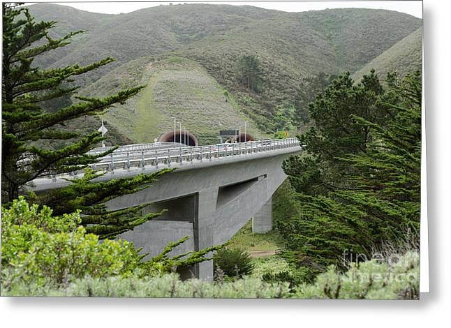 Mountain Road Greeting Cards - Devils Slide Tunnels Pacifica California DSC779 Greeting Card by Wingsdomain Art and Photography