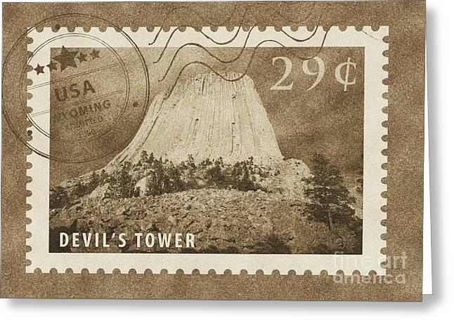 Devils Tower National Monument Wyoming Usa Vintage Stamp Themed Poster Greeting Card by Shawn O'Brien