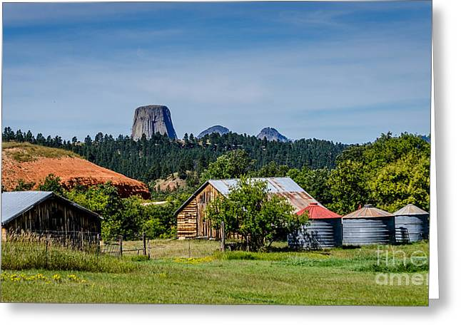 Monolith Greeting Cards - Devils Tower - Scenic Back Roads Greeting Card by Debra Martz
