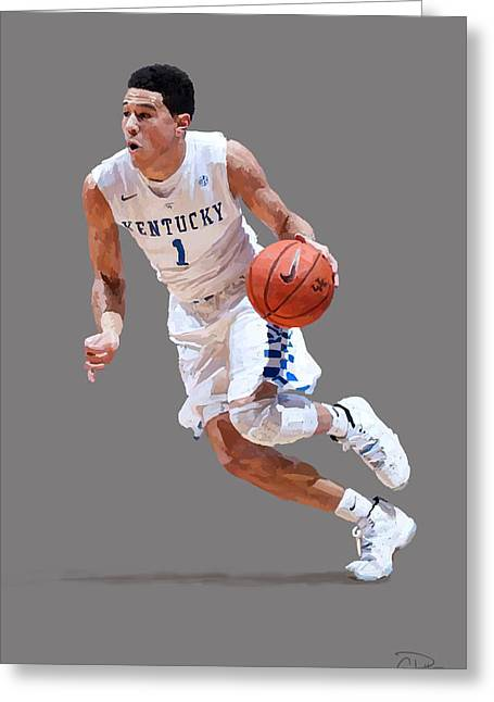 Devin Booker Greeting Card by Charley Pallos