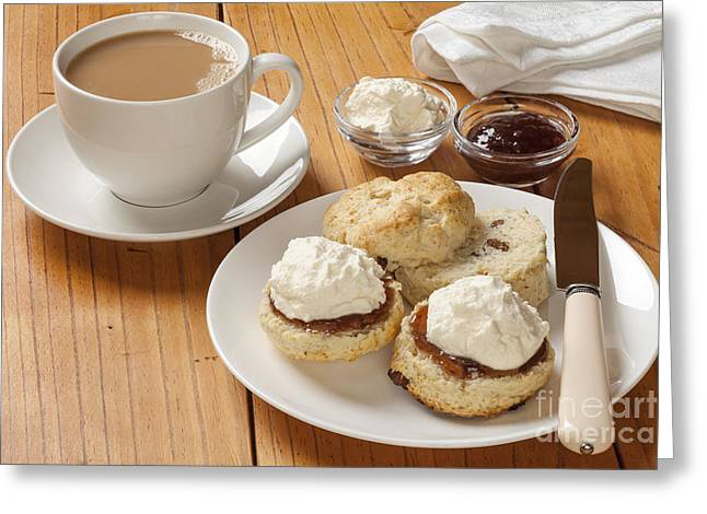 Afternoon Tea Greeting Cards - Devon Cream Tea Greeting Card by Colin and Linda McKie