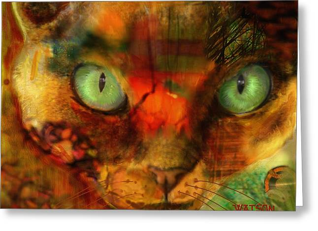 Cat Prints Greeting Cards - Devon Rex - Lit from within Greeting Card by Marlene Watson