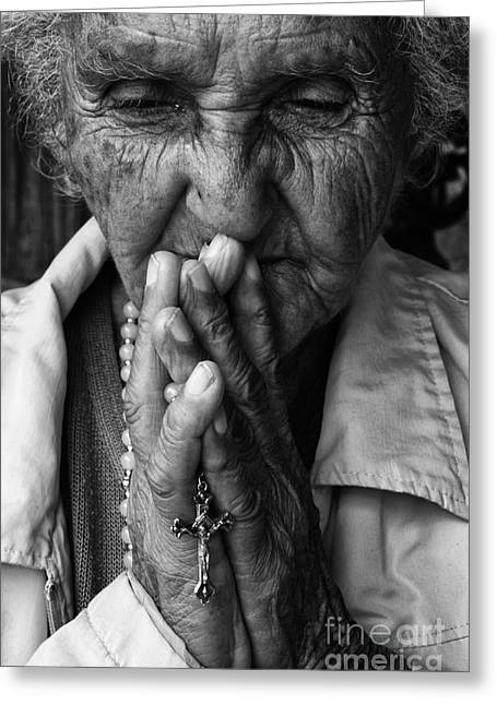 Old Person Greeting Cards - Devoted Greeting Card by Bob Christopher