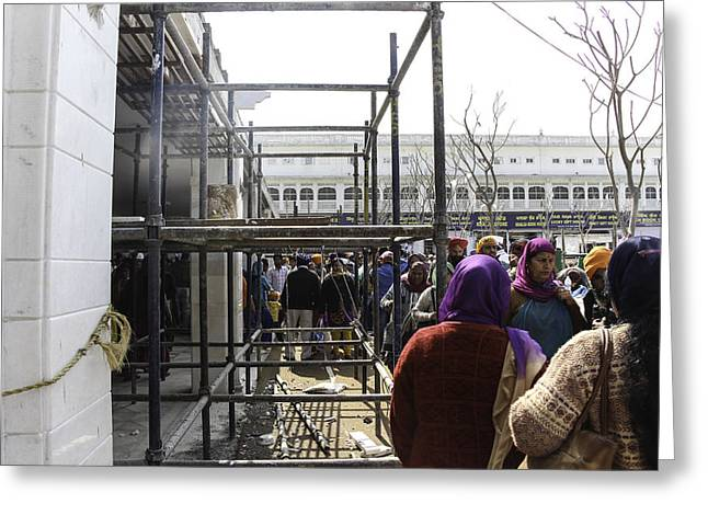 The Devotee Greeting Cards - Devotees walking alongside metal support bars in Golden Temple Greeting Card by Ashish Agarwal
