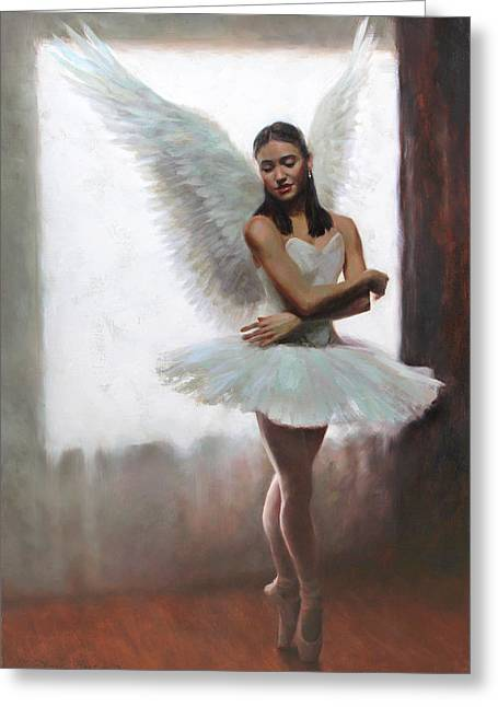 Ballet Dancers Paintings Greeting Cards - Devotion Greeting Card by Anna Bain