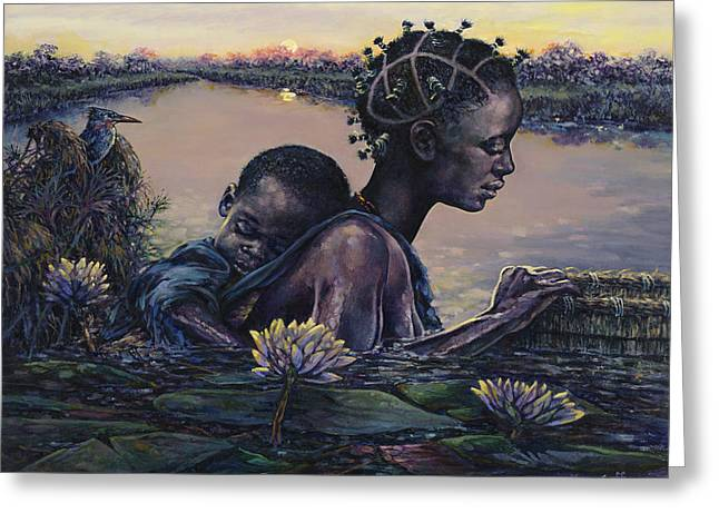 African Woman Greeting Cards - Devotion Greeting Card by Dennis Goff