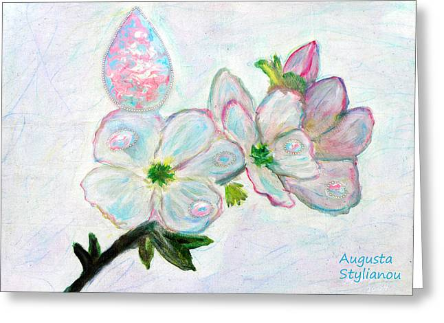 Dew And Smell Of Almond Flowers Greeting Card by Augusta Stylianou