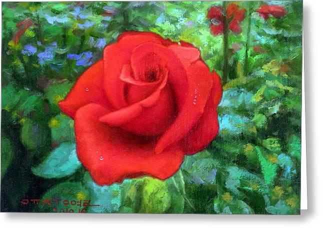 Dew Paintings Greeting Cards - Dew Soaked Rose Greeting Card by Yoo Choong Yeul
