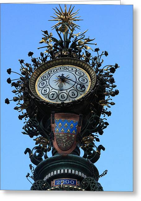 Amiens Greeting Cards - Dewailly Clock - Amiens - France Greeting Card by Aidan Moran