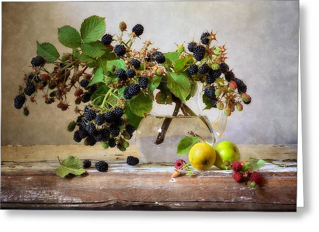Old Pitcher Greeting Cards - Dewberries  Greeting Card by Nikolay Panov