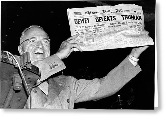 Dewey Defeats Truman Newspaper Greeting Card by Underwood Archives