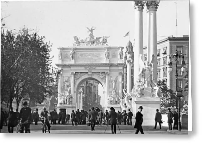 George Dewey Monument Greeting Cards - Deweys Arch Monument Madison Square New York 1900 Greeting Card by A Gurmankin