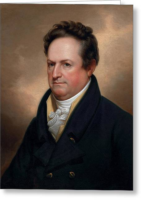 American Politician Paintings Greeting Cards - DeWitt Clinton Greeting Card by Celestial Images