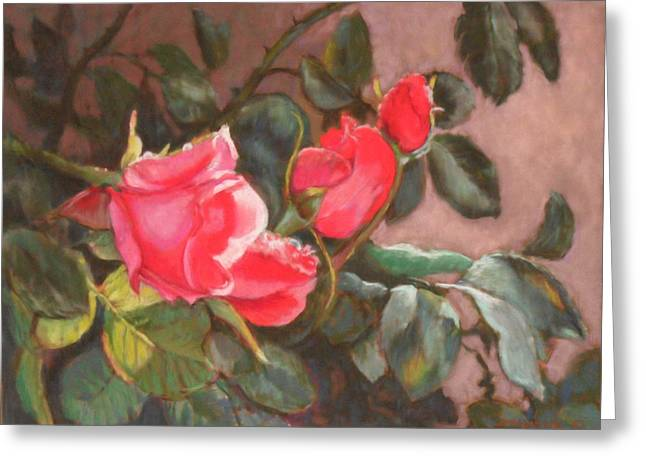 Dew Pastels Greeting Cards - Dewy Roses Greeting Card by Julie Mayser
