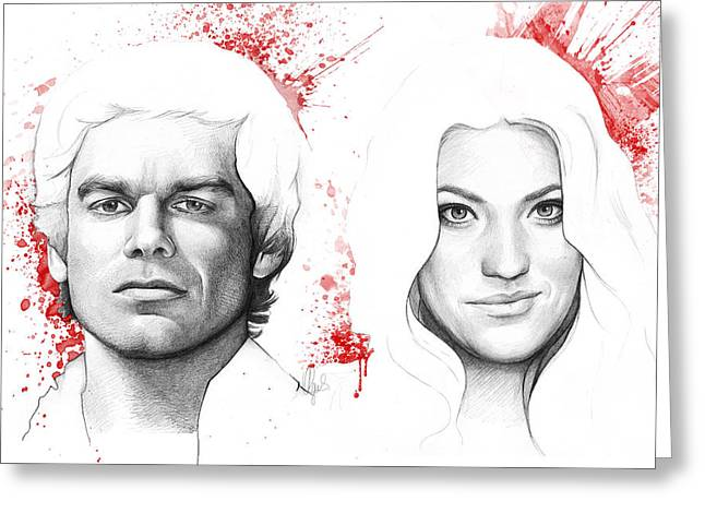 Celebrity Mixed Media Greeting Cards - Dexter and Debra Morgan Greeting Card by Olga Shvartsur