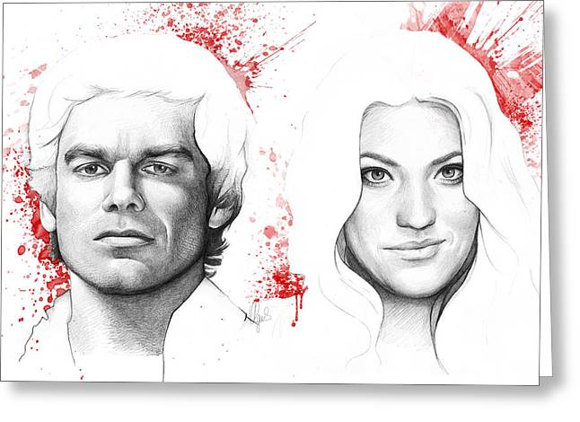 Celebrity Prints Greeting Cards - Dexter and Debra Morgan Greeting Card by Olga Shvartsur