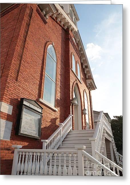 Dexter Greeting Cards - Dexter Avenure Babtist Church Entrance Greeting Card by Carol Groenen