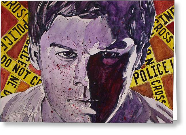 Serial Killer Mixed Media Greeting Cards - Dexter Greeting Card by Jeremy Moore