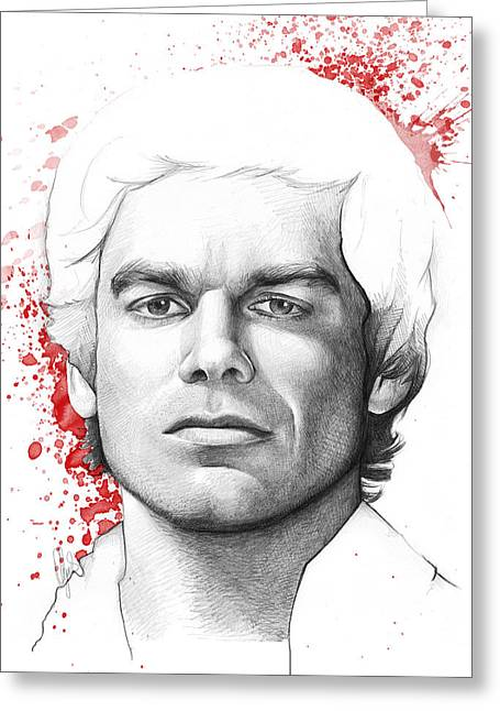 Serial Killer Mixed Media Greeting Cards - Dexter Morgan Greeting Card by Olga Shvartsur