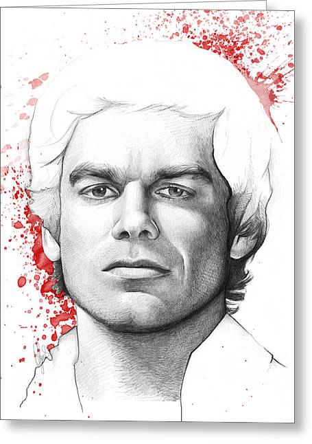 Drawing Greeting Cards - Dexter Morgan Greeting Card by Olga Shvartsur