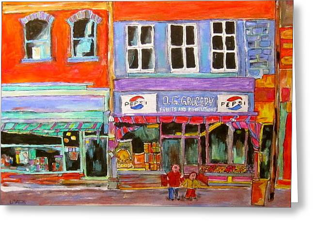 Michael Litvack Greeting Cards - D.G. Grocery on the Main Greeting Card by Michael Litvack
