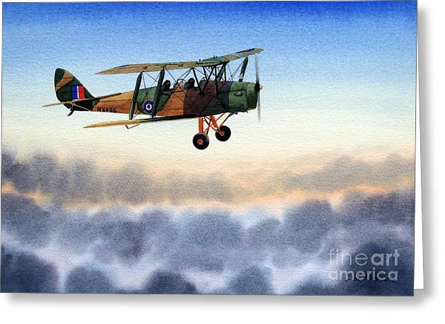 Trainer Aircraft Greeting Cards - DH-82 Tiger Moth Greeting Card by Bill Holkham