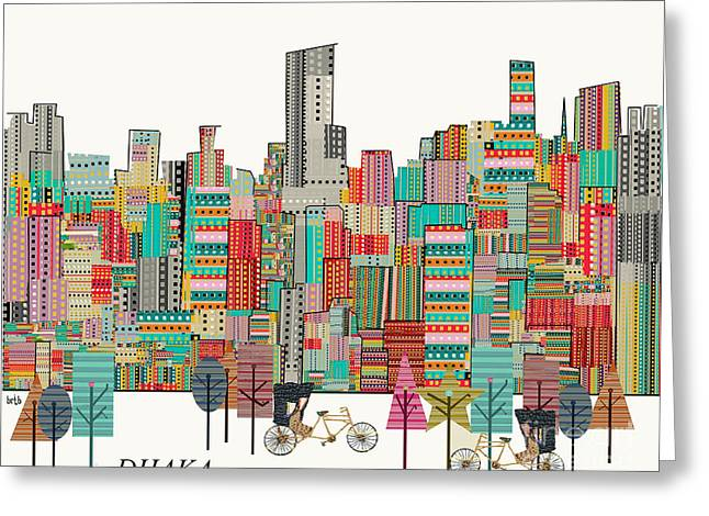 Tress Greeting Cards - Dhaka Skyline  Greeting Card by Bri Buckley