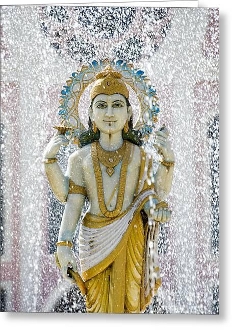 Hindu God Greeting Cards - Dhanvantari Fountain Statue Puttaparthi Greeting Card by Tim Gainey