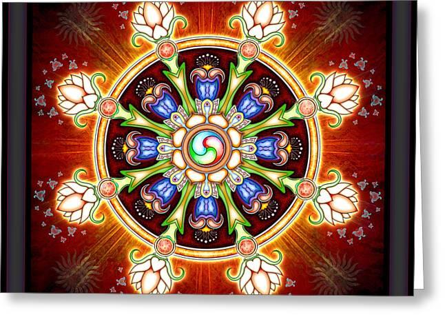 Rad Greeting Cards - Dharma Wheel Greeting Card by Dirk Czarnota