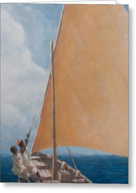 Docked Sailboat Greeting Cards - Dhow Kilifi Greeting Card by Lincoln Seligman