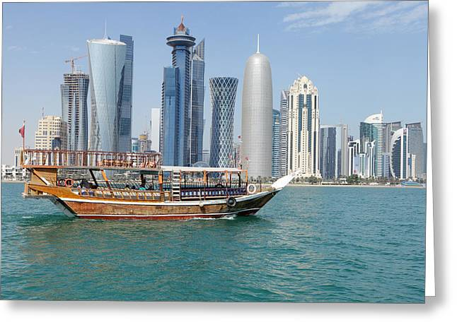 Mideast Greeting Cards - Dhow with towers and clouds Greeting Card by Paul Cowan