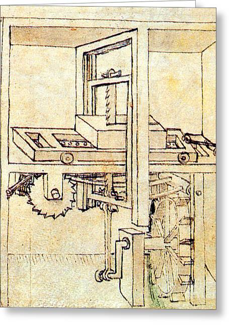 Saw Greeting Cards - Di Giorgio Invention Hydraulic Saw Mill Greeting Card by Science Source