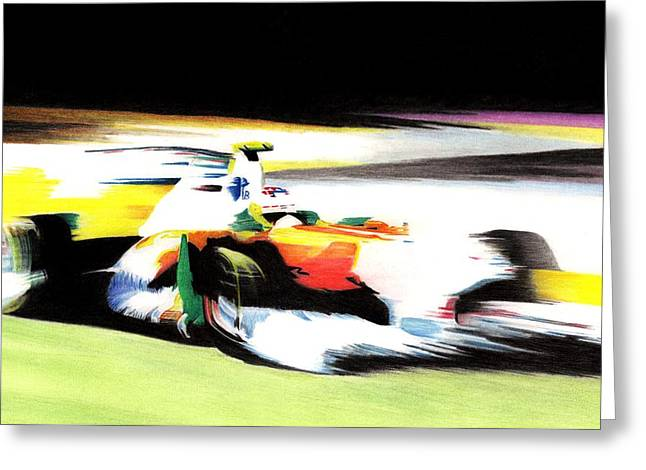 Car Pastels Greeting Cards - Di Resta Greeting Card by Lyle Brown