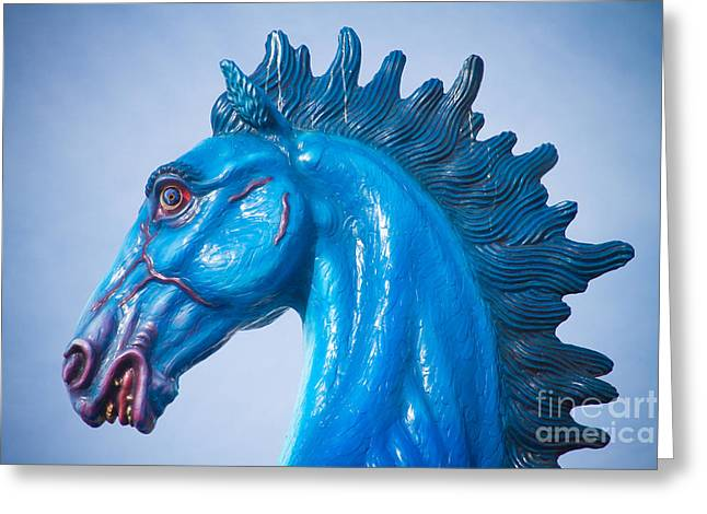 """james Insogna"" Greeting Cards - DIA Blue Mustang Portrait Greeting Card by James BO  Insogna"