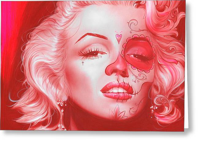 Marilyn Monroe - ' Dia De Los Monroe ' Greeting Card by Christian Chapman Art