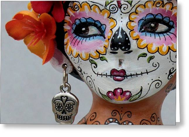 Folk Art Sculptures Greeting Cards - Dia de los Muertos Catrina Greeting Card by Lulu Moonwood murakami