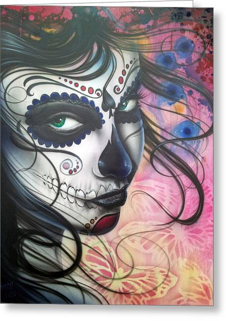 Girl Face Greeting Cards - Dia De Los Muertos Chica Greeting Card by Mike Royal