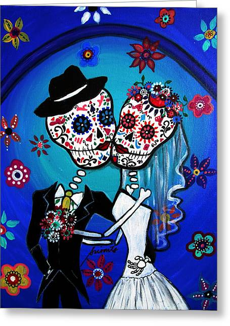 Dia De Los Muertos Kiss The Bride Greeting Card by Pristine Cartera Turkus