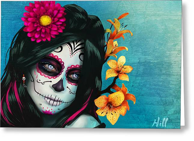 Kevin Hill Greeting Cards - Dia de los Muertos - Margarita - 10th Anniversary Edition Greeting Card by Kevin Hill