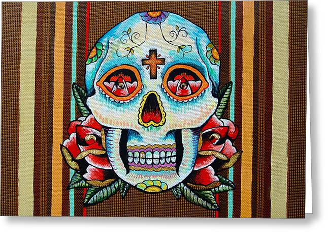 Best Sellers -  - Tattoo Flash Greeting Cards - Dia de los Muertos Skull Greeting Card by Britt Kuechenmeister