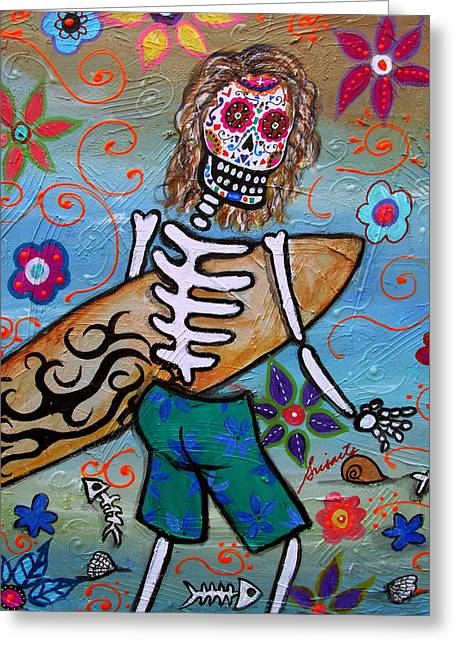 Surfing Art Print Paintings Greeting Cards - Dia De Los Muertos Surfer Greeting Card by Pristine Cartera Turkus