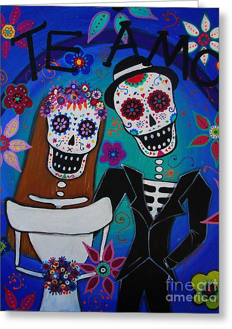 Wedding Couple Day Of The Dead Dia De Los Muertos Anniversary Gift Te Amo Prisarts Pristine Cartera Turkus Bride Flowers Blooms Love Mexican Art Folk Town For Sale Original Greeting Cards - Dia De  Los Muertos Te Amo Greeting Card by Pristine Cartera Turkus