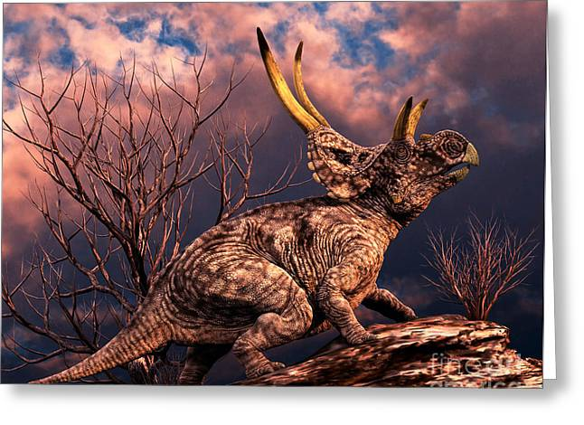 Diabloceratops Was A Ceratopsian Greeting Card by Philip Brownlow