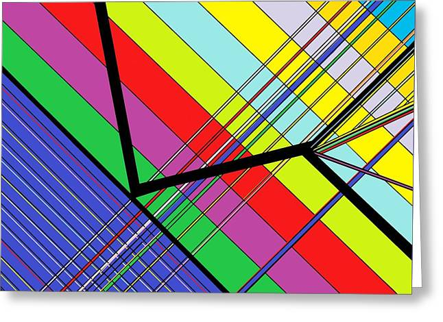 Waiting Room Greeting Cards - Diagonal Color Greeting Card by Eloise Schneider