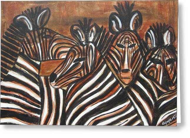 Zebra In Acrylic Greeting Cards - Zebra Bar Crowd Greeting Card by Diane Pape