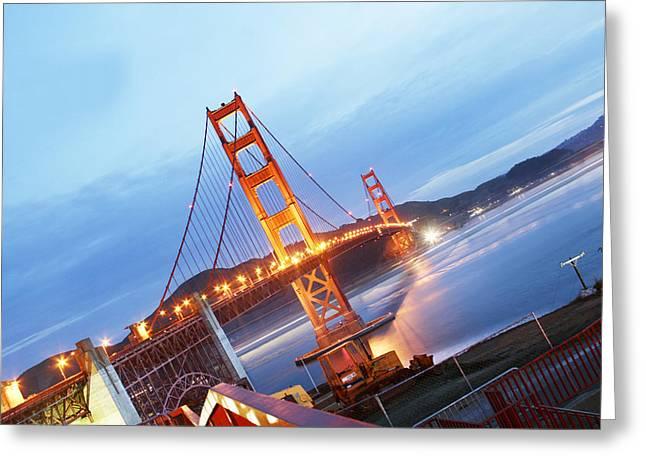 Exposure Pyrography Greeting Cards - Diagonal Golden Gate Bridge Greeting Card by Pobby Heglar