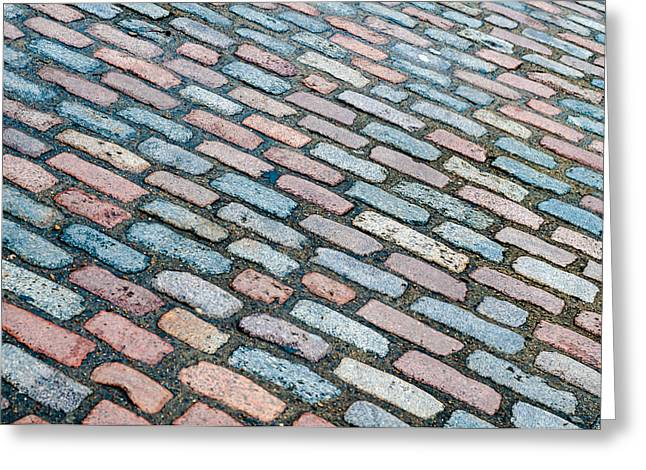 Old Pathway Greeting Cards - Diagonal Street Cobbles Greeting Card by Chay Bewley