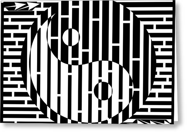 Ying Drawings Greeting Cards - Diagonal Ying Yang Maze Greeting Card by Yonatan Frimer Maze Artist