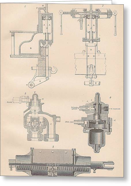 Mechanism Drawings Greeting Cards - Diagram of a Brake Greeting Card by Anon